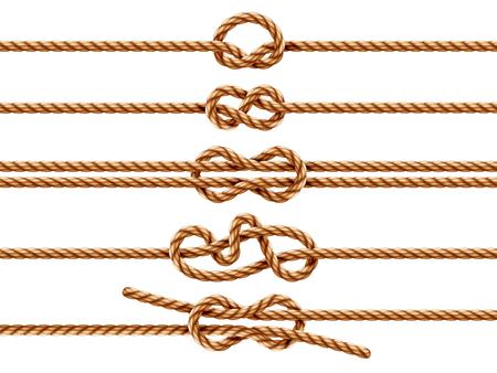 Ensemble de cordes isolées avec différents types de nœuds. Fil ou cordon nautique avec pli en feuille et en pronation, granny et chiffre huit, nœud carré ou récif. Deux cordes nouées ou whipcord entrelacées. Marin Vecteurs