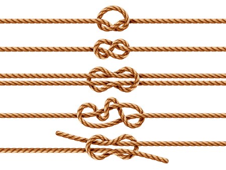 Set of isolated ropes with different knot types. Nautical thread or cord with sheet bend and overhand, granny and figure eight, square or reef knot. Two ropes knotted or whipcord intertwined. Marine Illustration