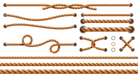 Set of isolated straight ropes and tied cross strings, realistic navy thread through metallic holes. Intertwined navy 3d cord. Vintage brown looped fiber with knot and noose. Nautical twisted whipcord Illustration