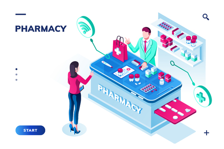 Woman ordering pills at drugstore. Isometric pharmacy with doctor or pharmacist selling tablet via internet online. Medical shop or drug store, medicine application design for smartphone. Apothecary  イラスト・ベクター素材