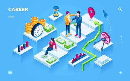 Career development isometric view for smartphone page. Woman on ladder with money and man with hr at staircase. Worker growth, employee climbing concept. Human recruitment application. Job vacancy