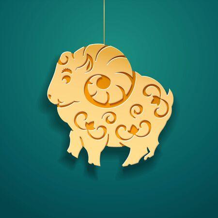 Paper sheep for islam and muslim holiday decoration. Ram for Eid al-Adha or ul-Adha or goat for feast of sacrifice, animal for turkish kurban bayram. Lamb for ramadan mubarak or ramazan kareem, Barkid