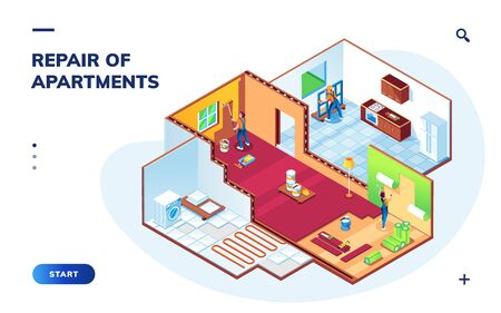 Isometric apartment with repair workers. Room maintenance or home renovation smartphone application or app. Painters and foreman doing wallpapering, repairman mounting window. Smartphone app 向量圖像