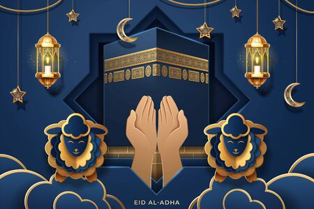 Prayer palms or hands in front of Kaaba for Eid al-Fitr or al-Adha, ul-Adha greeting card. Mecca Ka'bah holy stone and sheeps, lantern and crescent for muslim or islam holiday or festival. Reli  イラスト・ベクター素材