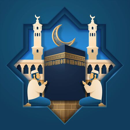 Masjid al-Haram and praying man, Kaaba stone and crescent for muslim holiday card background. House of islamic God mosque and Salah prayer, Kabah in Mecca. Religion celebration, islam theme