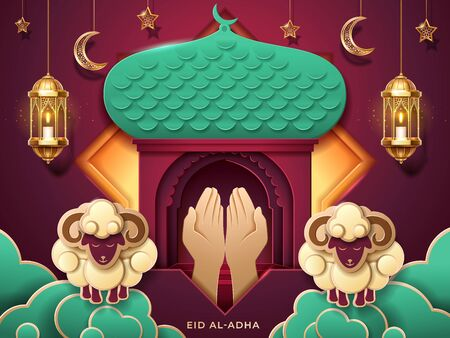 Prayer hands and islamic paper mosque entrance for Eid al-Adha or ul-Adha, muslim festival of sacrifice card. Sheeps on cloud and lantern, fanous, crescent and stars for islam ramadan holiday.Religion Illustration