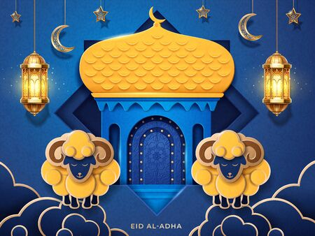 Eid al-adha arab calligraphy. Holiday greeting card or Eid-Bakrid islamic banner. Festival of sacrifice or Greater Eid celebration background with paper mosque and sheeps, lantern and crescent. Muslim Vetores