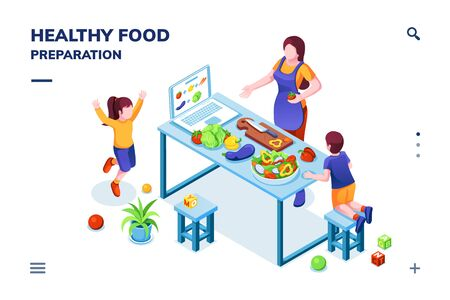 Isometric view on kitchen with family cooking healthy or vegetarian meal. Woman and children at vegan food preparation. Smartphone application page for home recipe or online cookbook.Organic nutrition  イラスト・ベクター素材