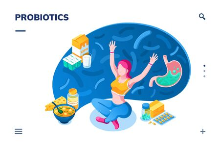 Woman and probiotics products. Isometric screen for smartphone health or nutrition concept application. Food for healthy bowel, gut flora, stomach disease. 向量圖像