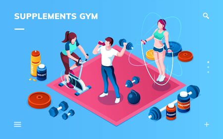 Gym supplement, workout or fitness, sport training application screen for smartphone.  イラスト・ベクター素材
