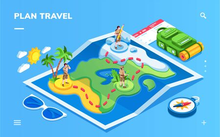 Isometric map with traveling man for smartphone application screen. Man at travel route and boarding pass, compass, glasses. Vacation planning, trip ticket booking, journey, explore online app screen 向量圖像
