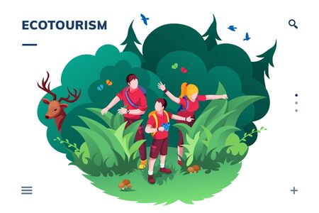 Ecotourism screen for smartphone application or eco tourism landing page. Family walking at wood or forest. Traveling and hiking activity banner. Ecology app and green concept. Recreation and summer 向量圖像