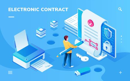 Screen for electronic contract or signature smartphone application. Man with pen signing e-contract with e-signature near printer with document and safe lock. Page for e-business. Digital deal