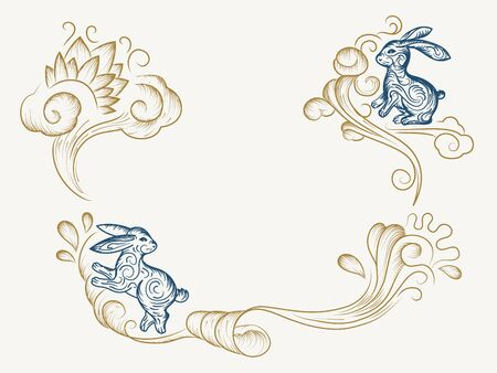 Hand drawn background for chinese mid autumn festival. Sketch of holiday bunny or rabbit on wavy clouds for Vietnamese celebration. Decoration for Zhongqiu jie or harvest moon festive. Asia religion