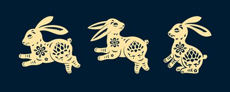 Set of isolated rabbits in paper cutting style. Bunny decoration for easter holiday, icon of hare or lapin, cony or coney. Sign of forest animal. Jade, moon rabbit for chinese mid autumn festive.