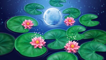 Water with lotus flower and moon reflection. Pink floral blossom with stars background. Decoration element for floral or botany banner. Asian or China, Indian element, Egyptian bean. Asia flora  イラスト・ベクター素材