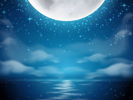 Night background with moon and sea. Dark background with moon reflection on ocean, river water. Romantic sky with clouds scene. Mystery midnight wallpapers. Evening or dusk lake. Seascape horizon 向量圖像