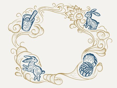 Mooncake sketch and hand drawn rabbit or bunny for mid autumn or harvest moon festival celebration. Vintage and retro background for mid-autumn holiday with wavy line art. China and asia festive  イラスト・ベクター素材