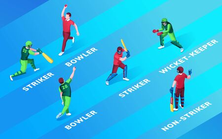 Set of isolated man at cricket fielding positions name. Bowler and striker, wicket-keeper and non-striker. Cricketer batsman and fielder, batter practise with ball and bat. Sport and game theme 向量圖像