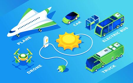 Set of isolated electric transport or ecology friendly vehicle. Isometric electrical plane or airplane, flight drone and car, bus and truck, sun and charge battery. Eco and green, renewable energy 向量圖像