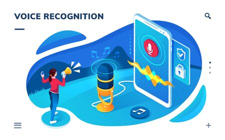 Voice recognition smartphone application screen. Isometric page for sound recording, translation, audio message. AI speech recognizing technology. Mic, microphone for conversation with cyber assistant