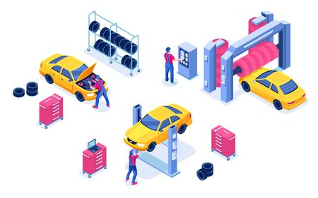 Car service or auto maintenance garage, transport diagnostic center. Isolated vehicle wash and automobile tuning, wheel alignment. Mechanic under machine hood. Auto shop for spare change or check 向量圖像