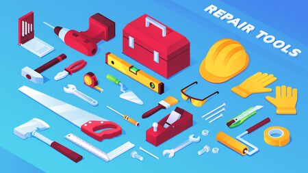 Tools for building and repair items, builder equipment. Toolbox, saw, insulating and measuring tape, wood plane, wrench, level and electric drill, pliers, corner ruler, hammer, brush, helmet glasses Banco de Imagens - 132068067