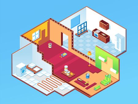 Isometric apartment during repair or house, home rooms at renovation. Indoor design for bedroom, guest room and kitchen restoration. Wallpapering, underfloor heating, window mount. Indoor work 向量圖像