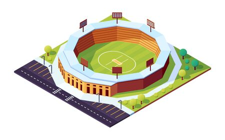 Isometric cricket stadium with grass field. Sport pitch with floodlight, public field for cricketer tournament or championship. Cartoon ball sport game arena with parking. Sporting architecture, match