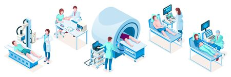 Set of isolated isometric medical technology equipment. Hospital diagnostic tools. MRI tomography ct, obstetric ultrasonography, cardiac medicine, resonance machine, vaccination, blood test.Healthcare Иллюстрация
