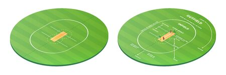 Top view on cricket pitch or ball sport game field, grass stadium background or circle arena for cricketer series, green lawn or ground for batsman, bowler. Outfield and infield. Batting game or match Illustration