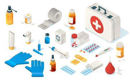 Set of isolated first aid kit tools or items of medical emergency box. Isometric icon for doctor, hospital and clinic. Enema, thermometer, drug, pills, plaster, bandage, gloves, syringe, Healthcare