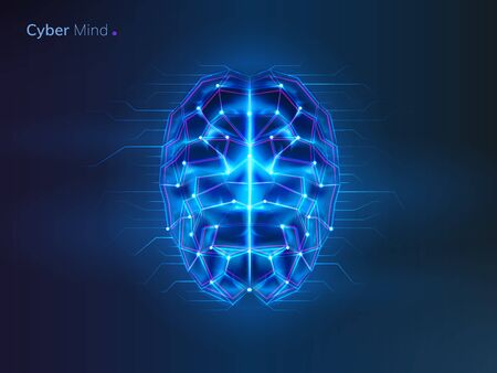 Glowing brain with connection lines. Neural network or machine learning background. AI or artificial intelligence, cyber mind . Bionic human cyberbrain. Future technology concept. Robot thinks 向量圖像