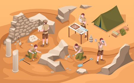 Archeology isometric excavation or archeologist at work. Archaeology job or archaeologist near ancient civilization architecture, columns and tent.Cartoon explorer at historic excavate.Old artifacts 向量圖像