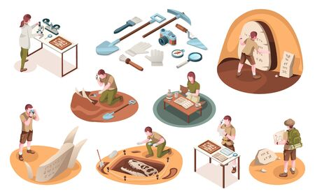 Set of isolated icons for archeology job and paleontology profession. Isometric signs with archeologist and paleontologist with dinosaur bones. Archaeologist tools, brush, shovel. Dig and excavation 向量圖像
