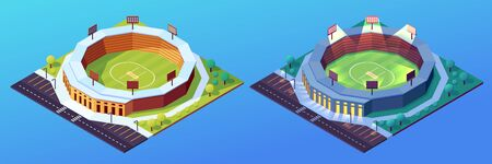 Set of isolated day and night stadiums for cricket game. Building with grass field and illuminated floodlit or spotlight. Isometric construction for cricketer sport play. Lawn and green ground, pitch