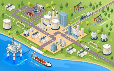 Oil extraction and transportation isometric sign. Gasoline and petroleum production industry. Mining and transportation. Refinery and ocean platform, pipeline and gas station, storage. Infrastructure