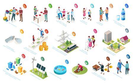 Desarrollo sostenible, sostenibilidad de la economía y la sociedad, responsabilidad social, iconos isométricos vectoriales. Iniciativas de RSE, mejoramiento del nivel de vida, protección comunitaria y conservación del medio ambiente.