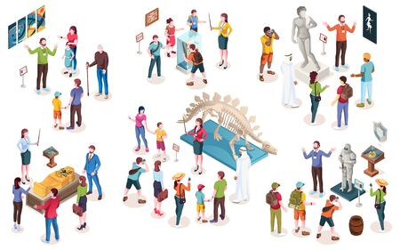 Set of isolated museum objects or exhibition people, guide and curator, tourists and dinosaur, modern art and painting, egypt sarcophagus and knight, statue and archeology stone. Isometric and history