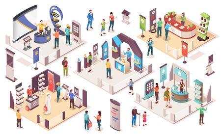 Leute auf Expo oder Geschäftsausstellung, isometrische Vektorsymbole Technologie- und Wirtschaftsausstellung mit Ausstellungsständen für Produktpräsentationen, Unternehmensberatern, Infotheken, Werbebannern und Vitrinen