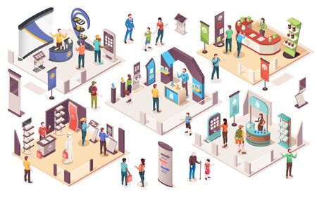 People at expo or business exhibition, vector isometric icons. Technology and business exhibition with product display exposition stands, company consultants, info desks, promotion banners and showcas