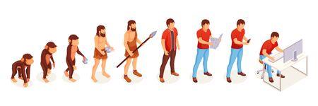 Évolution humaine du singe à l'homme moderne à l'ordinateur, icônes vectorielles. L'évolution des gens et le changement de vie progressent des singes et des hommes des cavernes à l'esprit intelligent et à la technologie Vecteurs