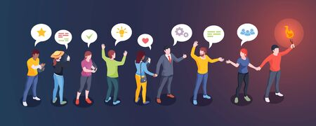 Social audience influence, opinion leader and influencer, vector creative design. Man with torch lead people followers, social media community and internet marketing concept Ilustración de vector