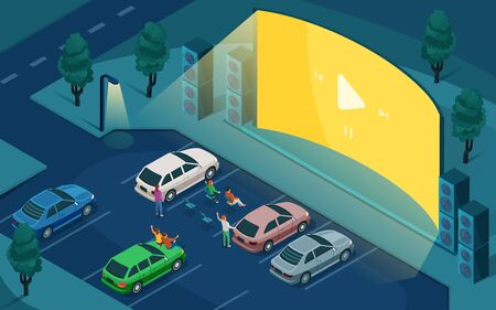 Drive cinema, car open air movie theater, vector isometric design. People in cars at night parking, watching outdoor drive cinema on blank empty screen with sound speakers Ilustracje wektorowe