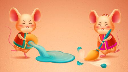 Rat with broom and mouse pours out water doing cleaning. Zodiac mice sweeping for 2020 new year symbol or chinese greeting card front. Rodent for china calendar or asian CNY sign. Holiday, festive Çizim