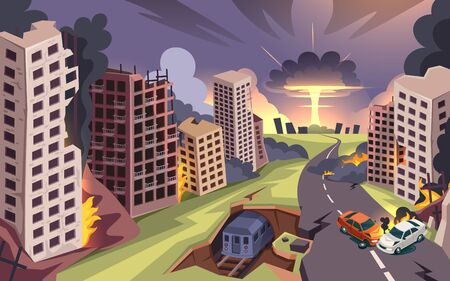Ruined city from nuclear bomb explosion, war destroyed buildings and burning cars, vector cartoon background. Damaged street with road crack, empty ruined houses from bombing attack Illustration