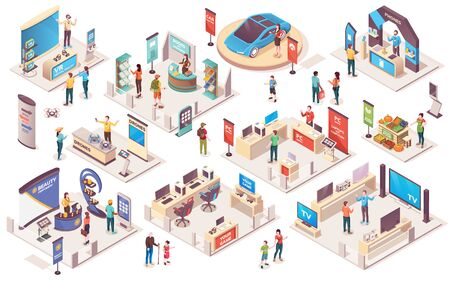 Expo center and trade show exhibition product display stands, vector isometric icons. Promo trade exposition demo stands and showcase booth racks or information desks, visitors and consultants people