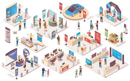 Expositores de productos de exposición de centro de exposiciones y ferias comerciales, iconos isométricos vectoriales. Exposiciones comerciales promocionales, stands de demostración y estantes de exhibición o mostradores de información, visitantes y consultores.