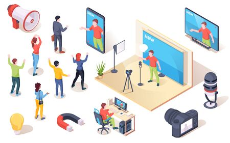 Social influencer, brand opinion leader and marketing audience influence, vector isometric icons. People following influencer blogger and social media authority and digital SMM marketing concept Vektorové ilustrace