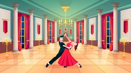 Ballroom hall, waltz dancers in royal palace room, vector background. Man and woman dancing waltz in ball room with luxury interior, marble columns and curtains, golden candelabra and candles
